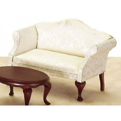 Q.A. LOVESEAT, WHITE/MAHOGANY