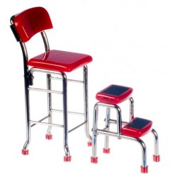 KITCHEN STOOL W/STEPS, RED