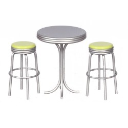 TALL TABLE W/2 STOOLS, GREEN