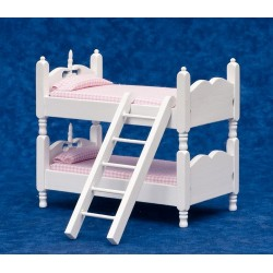 BUNKBEDS W/LADDER-PINK & WHITE