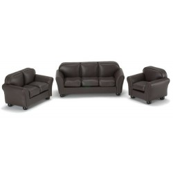 BROWN LEATHER LIVING ROOM, 3PC