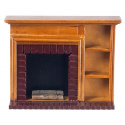 FIREPLACE W/SHELVES, WALNUT