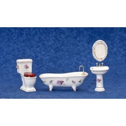 Pink Roses Bath Set 4PC
