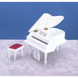 PIANO W/BENCH/WHITE