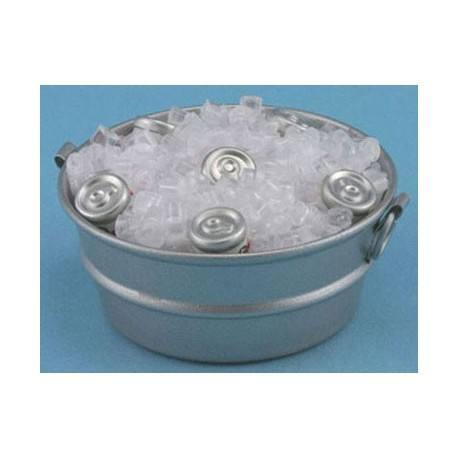 TUB W/ICE AND CANNED DRINKS