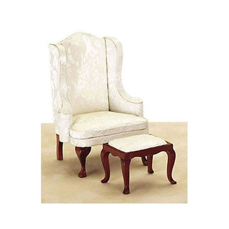 Q.A. WING CHAIR/STOOL, WH/MAHO