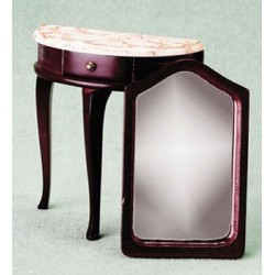 DEMI-TABLE W/MIRROR, MAHOGANY