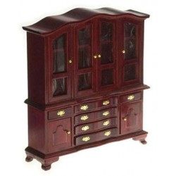 HUTCH W/GLASS DOORS, MAHOGANY