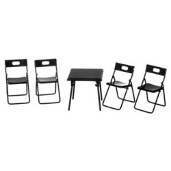FOLDING TABLE, 4 CHAIRS, BLACK