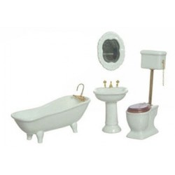BATH SET, 4PC, WHITE