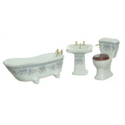 BATH SET/3/LAV TRIM/FLOWERS