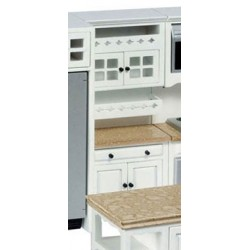 CABINET W/SHELVES, WHITE, MARBLE