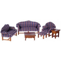 DARK PLAID LIVING ROOM SET, 6