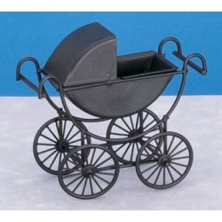 METAL BABY CARRIAGE, BLACK