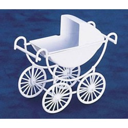 METAL BABY CARRIAGE, WHITE