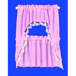 CURTAINS: RUFFLED CAPE SET, PINK