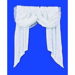 VALANCE: DOUBLE BALLOON, WHITE LEAVES