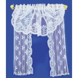 DOUBLE WINDOW DRAPE, WHITE LACE