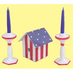 BIRDHOUSE & CANDLESTICKS RED/WH/BLUE
