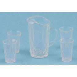 CRYSTAL PITCHER W/4 TUMBLERS