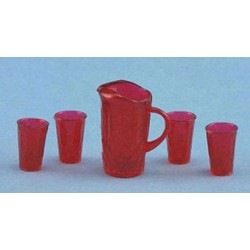 CRYSTAL PITCHER W/4 TUMBLERS, KIT, RUBY