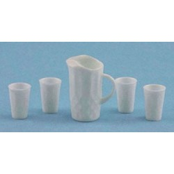 CRYSTAL COLOR PITCHER W/4 TUMBLERS, KIT, WHITE