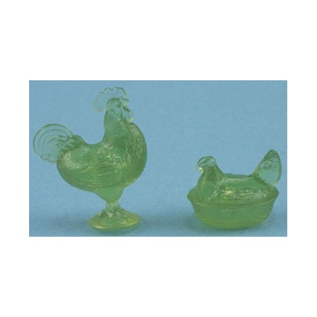 ROOSTER/HEN CANDY DISHES, GREEN