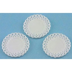 LACE-EDGED PLATES, (3)