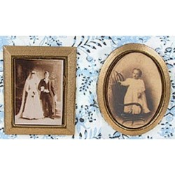 GOLD FRAMED SEPIA PHOTOS, 2/PC