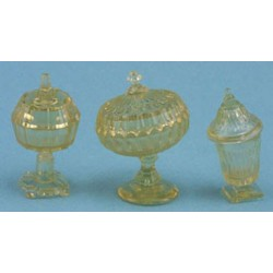 CANDY DISHES, 3PC AMBER