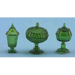 CANDY DISHES, 3PC, EMERALD GREEN