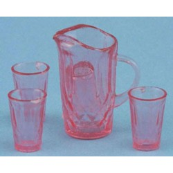 PITCHER W/4 GLASSES, PINK
