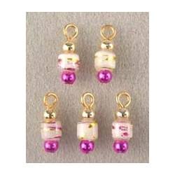 SSN:(5) WHITE/FUCHSIA/GOLD POPPER ORN.
