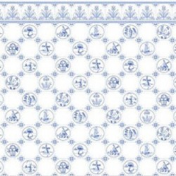 6 pack Wallpaper, Dutch Tile, Blue On White
