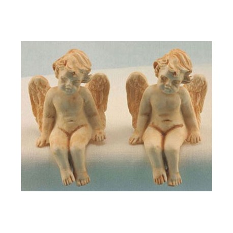 SITTING CHERUB 2PCS TAN