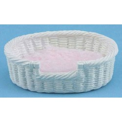 DOG'S BED WH &  PK OVAL, SIZE L