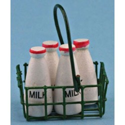 MILK BOTTLES IN BASKET