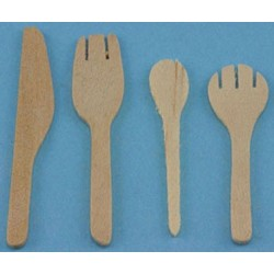 WOODEN KITCHEN UTENSILS, 4/PC