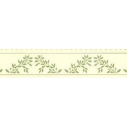 BORDER: ACORNS, GREEN ON CREAM
