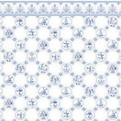 6 pack 1/2 Scale Dutch Tile, Blue On White