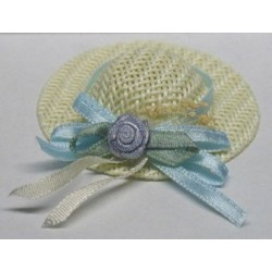 LADIES STRAW HAT/BLUE RIBBON