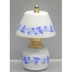 CHINA/BRASS LAMP-BLUE LEAVES