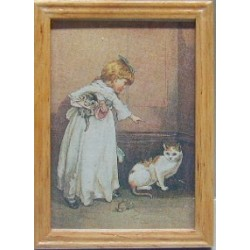 GIRL/CAT, OAK FRAME 2 1/4 X 3