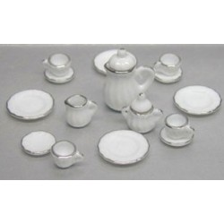 17 PC WHITE CHINA/SILVER TRIM