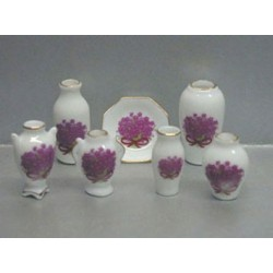 7 PC VASES/PLATE-MAAUVE FLOWERS