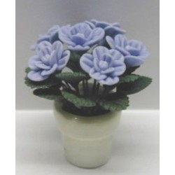 BLUE ROSES IN CLAY POT 1 1/8