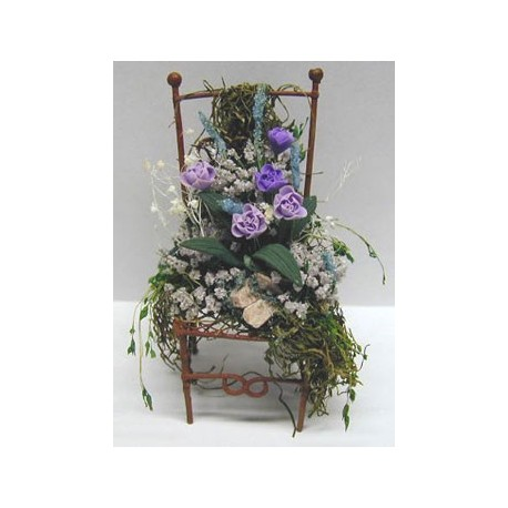 IRON CHAIR/FLORAL ARRANGEMENT