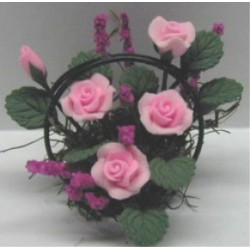 PINK ROSES/WIRE BASKET 1 1/4