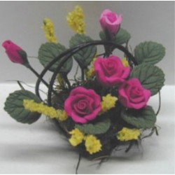 MAUVE ROSES/WIRE BASKET 1 1/4