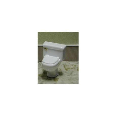 TOILET, GOLD HANDLE, CLEAR 1:12